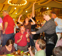 Dancing in Fischer Veroni Tent Affordable Oktoberfest Huron Tours and Travel
