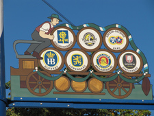 The Seven Munich Breweries sign at the Viktualienmarkt Affordable Oktoberfest Huron Tours